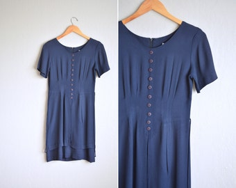 vintage '90s NAVY blue LAYERED PARTY dress. size s.