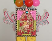 Vintage Circus Mixed Media Assemblage Sculpture/Shrine OOAK