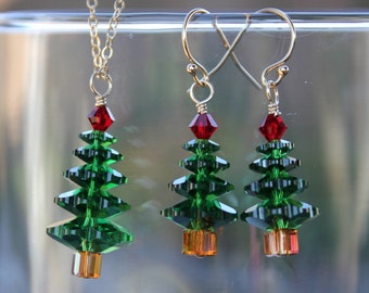 Forest green Christmas tree gold necklace and earring set -dark moss green & Siam red Swarovski crystals, 14k gold filled- free shipping USA