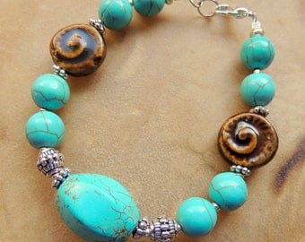Turquoise Bracelet, Turquoise Jewelry, Turquoise and Brown, Rustic Jewelry, Handcrafted Jewelry, Gemstone Jewelry