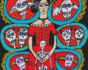 Day of the Dead cross stitch kit by Heather Galler ' Day of the Dead - Frida Kahlo with skulls', counted cross stitch, modern cross stitch