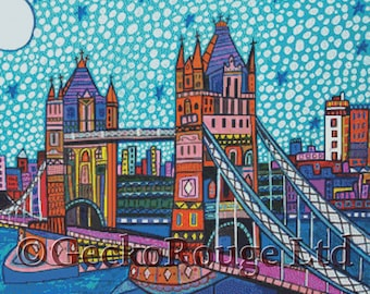 London England Cross Stitch Kit London , Tower Bridge -By Heather Galler, Counted Cross Stitch Kit,