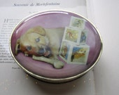Vintage Oval Tin Box * 1950's English Tin * Dog Lover Gifts * Valentine Puppy Tin