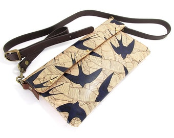 Leather Clutch bag / Or Shoulder Bag - Swallows and leaf