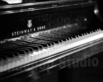 Jazz Piano in Detroit Black and White Fine Art Photograph on Metallic Paper