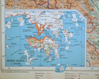 1958 Large Vintage Map of Southern China. With Insets of Hong Kong and Environs and Shanghai