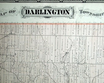 1878 Large Rare Vintage Map of Darlington Township, Ontario, Canada - Handcolored