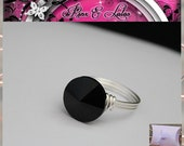 Jet Black Crystal Wire Wrapped Custom Ring