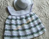 Baby Girl Dress and Bonnet 18 to 24 mo Crochet Pattern PDF