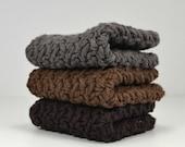 Crochet Cotton Dish Cloths Wash Cloths Brown Gray