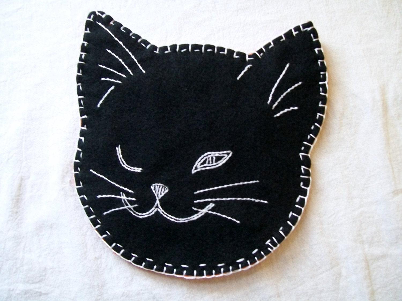 black cat cat pot holder hand embroidery black cat pot