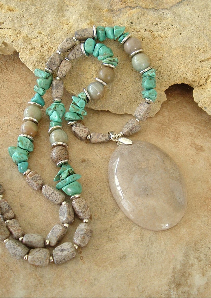 Natural Stone Jewelry : Boho necklace natural stone organic neutral jewelry