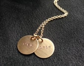 Hand stamped necklace with Gold Filled disks --Custom and personalized with children's names-- The Lucy Necklace