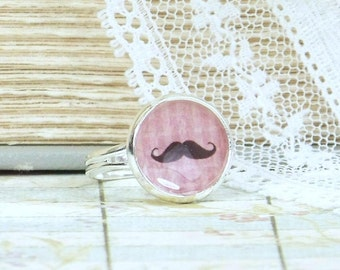 Mustache Ring Handlebar Mustache Moustache Jewelry Adjustable Ring Moustache Ring Statement Ring