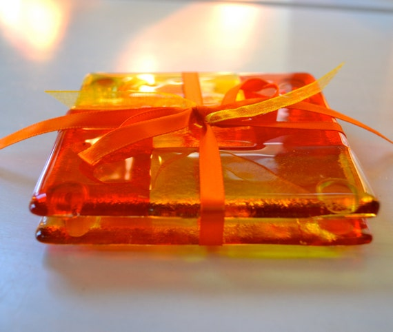 Ice Tea for Two Fused Glass Coasters