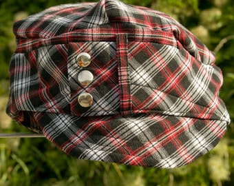 Red Plaid Hat make from Recycled Pants