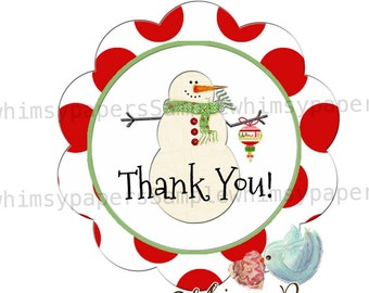 Snowman Thank You Stickers - set of  50