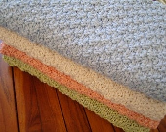 Luxurious Organic Cotton & Bamboo Handknit Baby Blanket