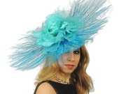 Very Large Turquoise Angels Ostrich Feathers Fascinator Hat for Weddings, Kentucky Derby  **SAMPLE SALE