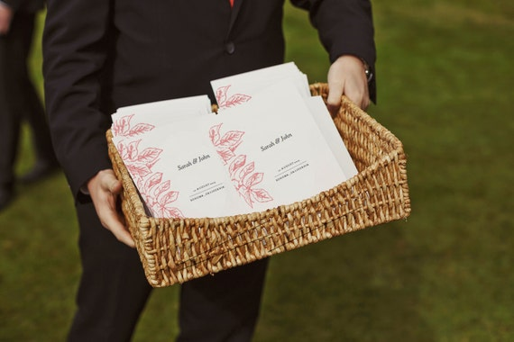 Printable Wedding Program - Wedding Program Template - PDF Download - Pink Botanical Wedding Program - Pink Leaves - Order of Service - DIY