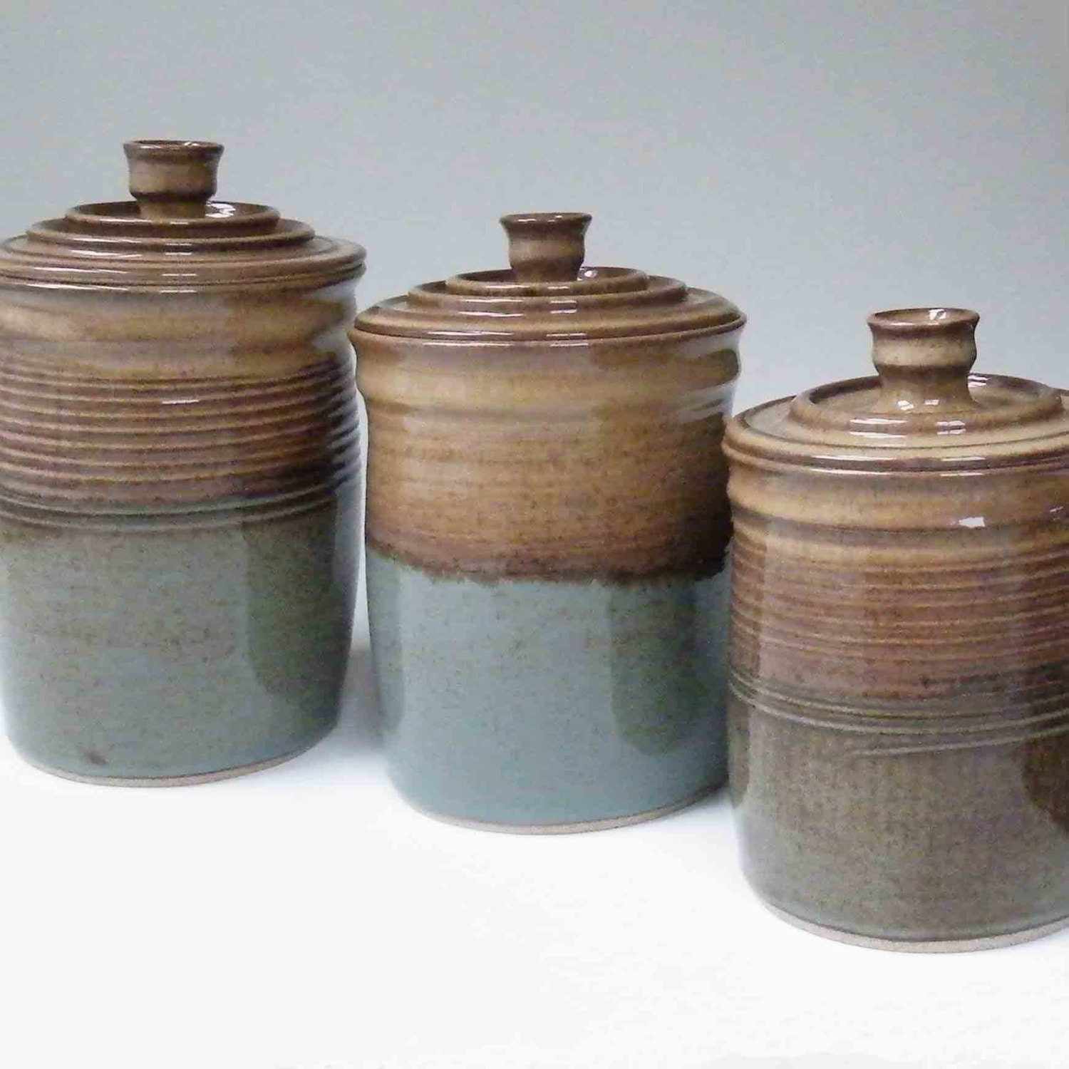 made to order kitchen set of 3 canisters brown with blue