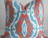 BOTH SIDES--Throws and Lumbars - Decorative  Designer Cover--IKAT- -Aqua- Turquoise-Coral and  White Throw / Toss / Lumbar Pillow
