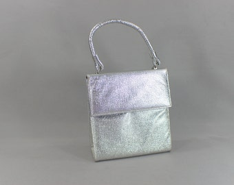1960's Silver Handbag / Vintage Short Handle Structured Purse