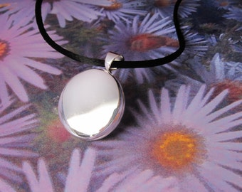 Round Sterling Silver Locket on silk cord