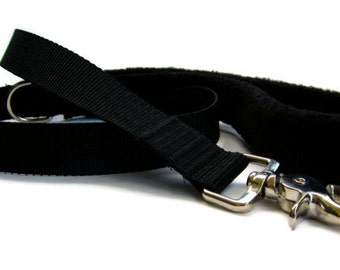 Dog leash padded handle in basic black 6ft Dog lead