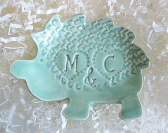Hedgehog ring holder bowl, In Stock with initials M and C or K and C, ring dish, ceramic art pottery