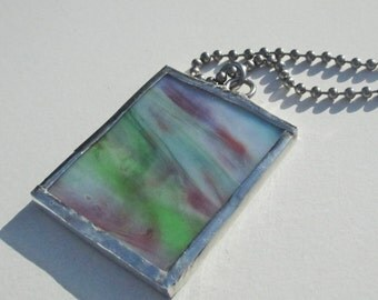 Red and Green Swirl Stained Glass Rectangle Pendant Necklace