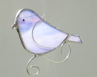 Purple and Pink Stained Glass Songbird Home Decor Suncatcher