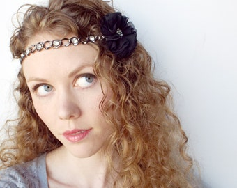 Flower and Chain Circlet Hair Accessory in Silver and Black