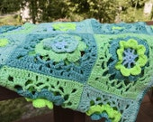 Green Floral Crochet Baby Wool Stroller Blanket