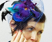 Royal blue fascinator purple mini hat peacock wedding LENOCHKA