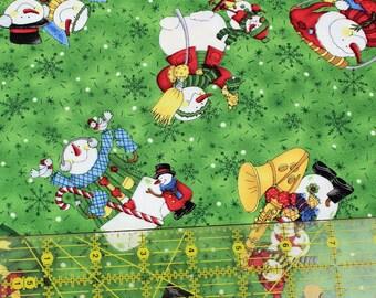 Snowmen Christmas Fabric, Winter Fun from Northcott by Laurie Godin, One Yard, Green Destash