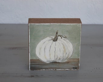 White Pumpkin painting art block 4 x 4 on canvas