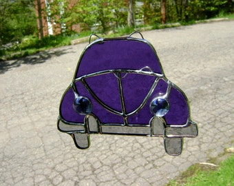 VW Bug Volkswagen Beetle VW Stained Glass Suncatcher Hippie Classic Cars Vintage Retro Fathers Day Birthday Honeymoon Original Design©
