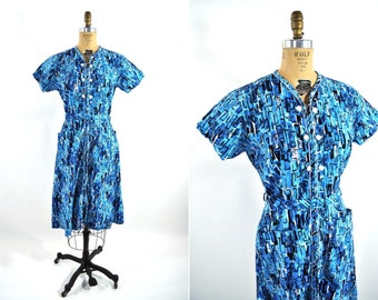 1950s dress vintage 50s pool blue zip up Top Mode Frocks day dress  L