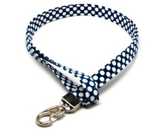 Blue and White Polka dots Fabric Lanyard ID badge holder - Great Gift for Office Worker, Nurse, Teacher, Student and more