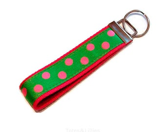Lime Green with Pink Polka Dots Key Fob Keychain