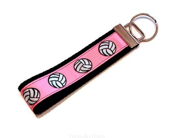 Pink Volleyball Keychain  -  Wristlet Key Fob  -  Great Team or Coach Gift