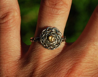 SALE- Silver, Gold & Citrine Infinity Spiral Braid Ring