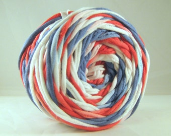 Hand Dyed T-Shirt Yarn- Red/White/Blue 60 yards
