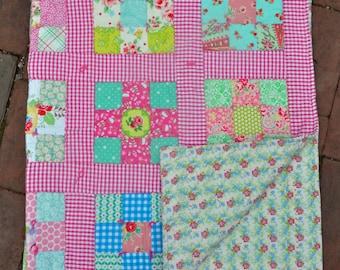 New Baby Girl Crib Quilt Throw Nursery Decor Gift
