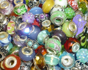 Grab BAG 10 European Beads  Beads Murano glass beads Crystal beads Spacer silver beads