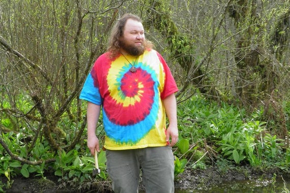 Tri Color Spiral Tie Dye T-Shirt (Made By Hippies Tie Dye In Stock  in Sizes Small to 4XL) (Fruit of the Loom)