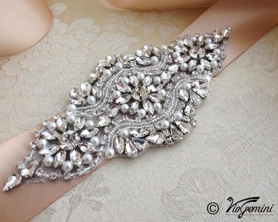EXCLUSIVE DESIGN Bridal sash, rhinestones and pearl sash, wedding sash, jeweled sash belt, wedding dress sash, wedding belt