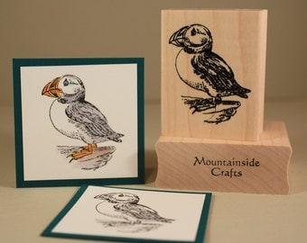 CLIFF PUFFIN- wood mounted rubber stamp (MCRS 20-19)