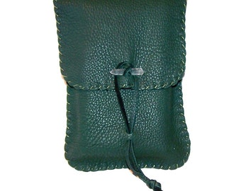 Large Vertical Flap Tarot Bag / Medicine Bag...Leather Medicine Bag....GREEN